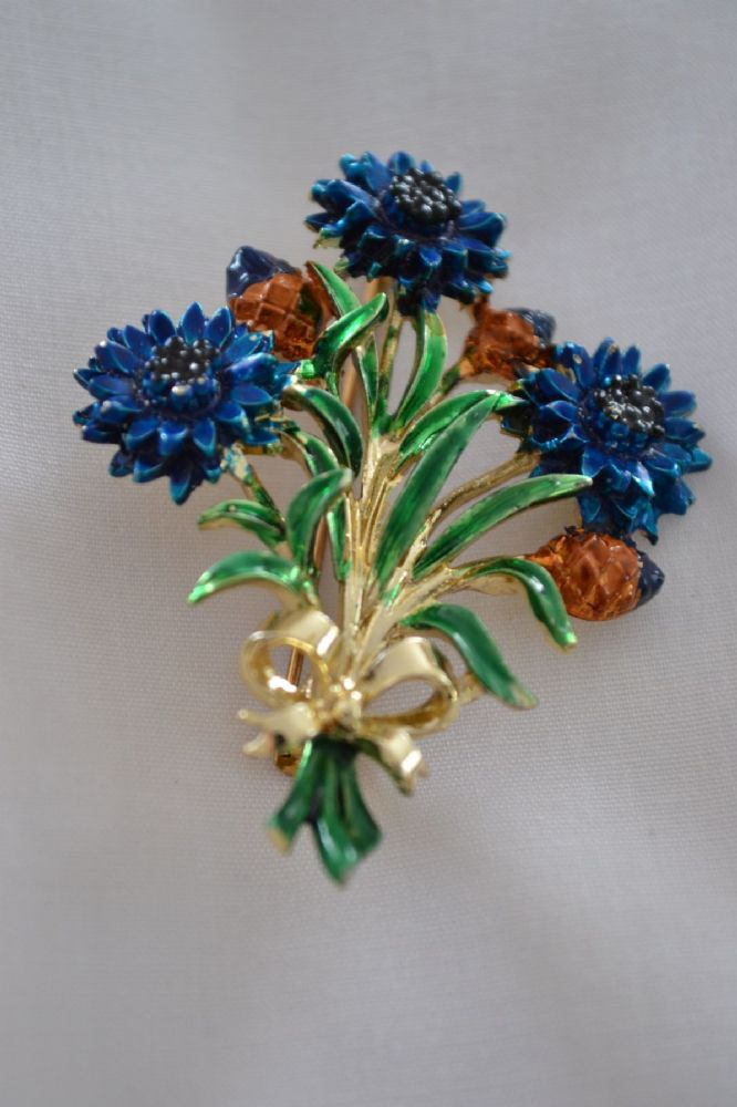 Cornflower Brooch Signed Exquisite 1960s Brooch From